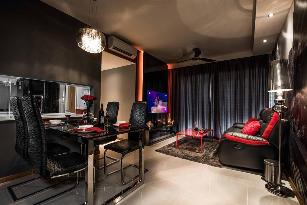 A Treasure Trove, Mr Shopper Studio, Traditional, Living Room, Condo, Dark Colours, Mysterious, Black, Black Curtains, Plush Rug, Opulent, Area Rug, Leather Sofa, Chandelier, Black And Red, Floor Lamp, Majestic, Chair, Furniture, Brewery, Building, Factory, Lighting