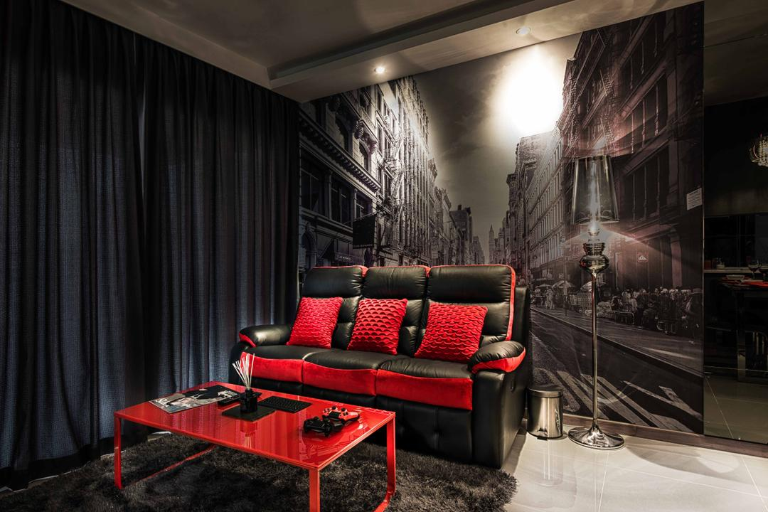 A Treasure Trove, Mr Shopper Studio, Traditional, Living Room, Condo, Wall Mural, Black And Red, Black And White, Photo Wall, Big Wall Sticker, Red Coffee Table, Chair, Furniture, Couch