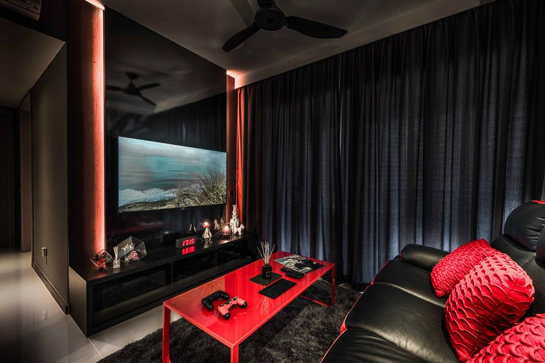A Treasure Trove, Mr Shopper Studio, Traditional, Living Room, Condo, Red Coffee Table, Black And Red, Red And Black, Red Cushions, Leather Sofa, Black Sofa, Black Curtains, Dark, Dark Shades, Mysterious, Tiles, Coffee Table, Small Sized, Small Space, Electronics, Entertainment Center, Home Theater, Architecture, Building, Column, Pillar, Chair, Furniture