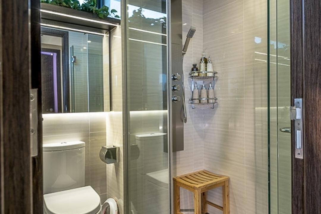 Riverparc, Mr Shopper Studio, Modern, Contemporary, Bathroom, Condo, Glass Door, Stool, Glass Partition, Cubicle, Shower Cubicle, Simple, Tiles, Easy To Maintain, Indoors, Interior Design, Room
