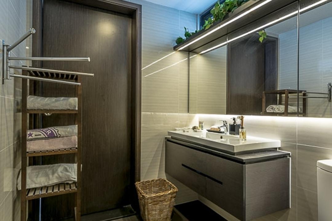 Riverparc, Mr Shopper Studio, Modern, Contemporary, Bathroom, Condo, Toiletry Holder, Potted Plants, Plants Decor, Laundry Basket, Indoors, Interior Design, Room