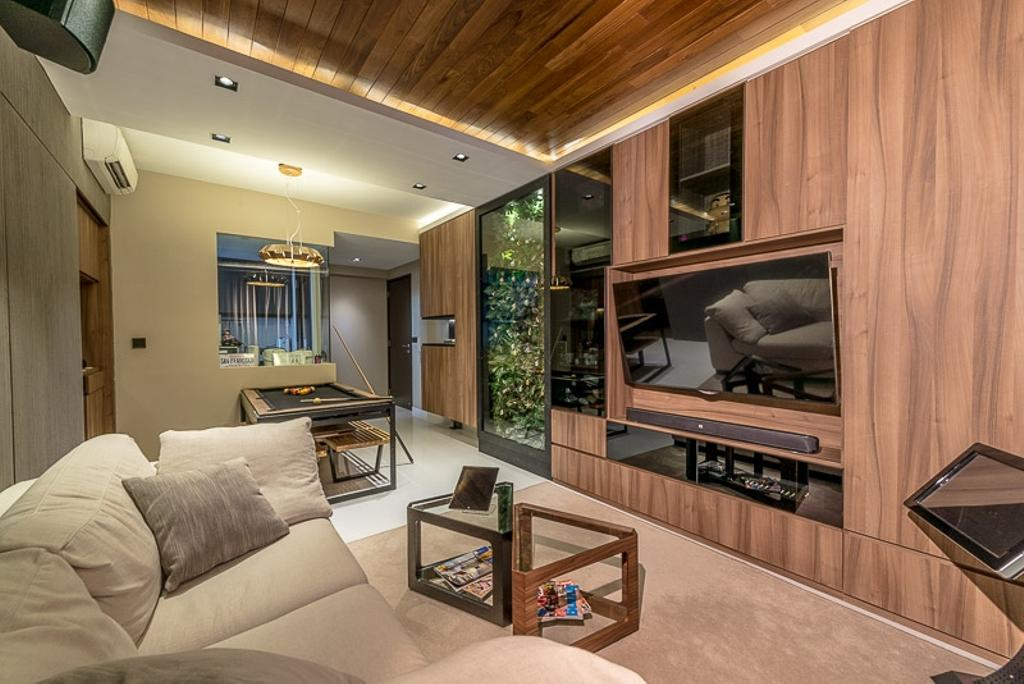 Modern, Condo, Living Room, Riverparc, Interior Designer, Mr Shopper Studio, Contemporary, Wood Accents, Wood Laminate, Natural, Organic, Fabric Sofa, White And Brown, Brown And White, Resort Theme, Wooden Deck, Wooden Ceiling, Resort, Lodge, Rustic, Couch, Furniture, Indoors, Room