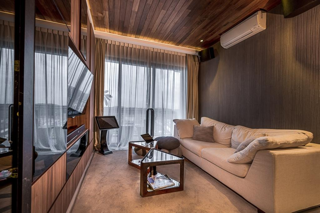 Modern, Condo, Living Room, Riverparc, Interior Designer, Mr Shopper Studio, Contemporary, Cosy, Wooden Deck, Wooden Ceiling, Tilt Tv, Neutrals, Luxe, Showroom, Elegant, Sophisticated, Coffee Table, Rug, Area Rug, Couch, Furniture