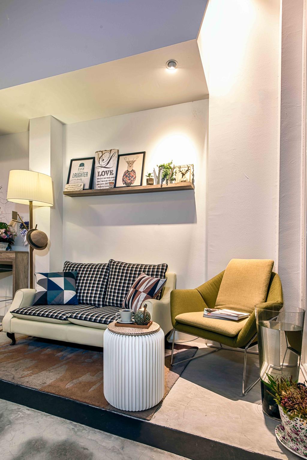 Salon, Commercial, Interior Designer, Mr Shopper Studio, Eclectic, Scandinavian, Retro, Couch, Furniture, Flora, Jar, Plant, Potted Plant, Pottery, Vase, Chair, Lamp, Art