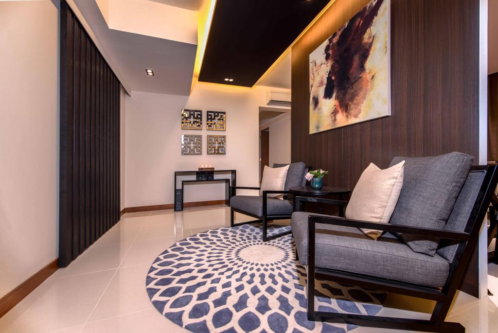 Contemporary, Condo, Living Room, Waterway Woodcress, Interior Designer, Mr Shopper Studio, Modern, Area Rug, Armchair, Porch, Entrance, Foyer, Armchairs, Painting, Backdrop, Chair, Furniture, Indoors, Interior Design, Room