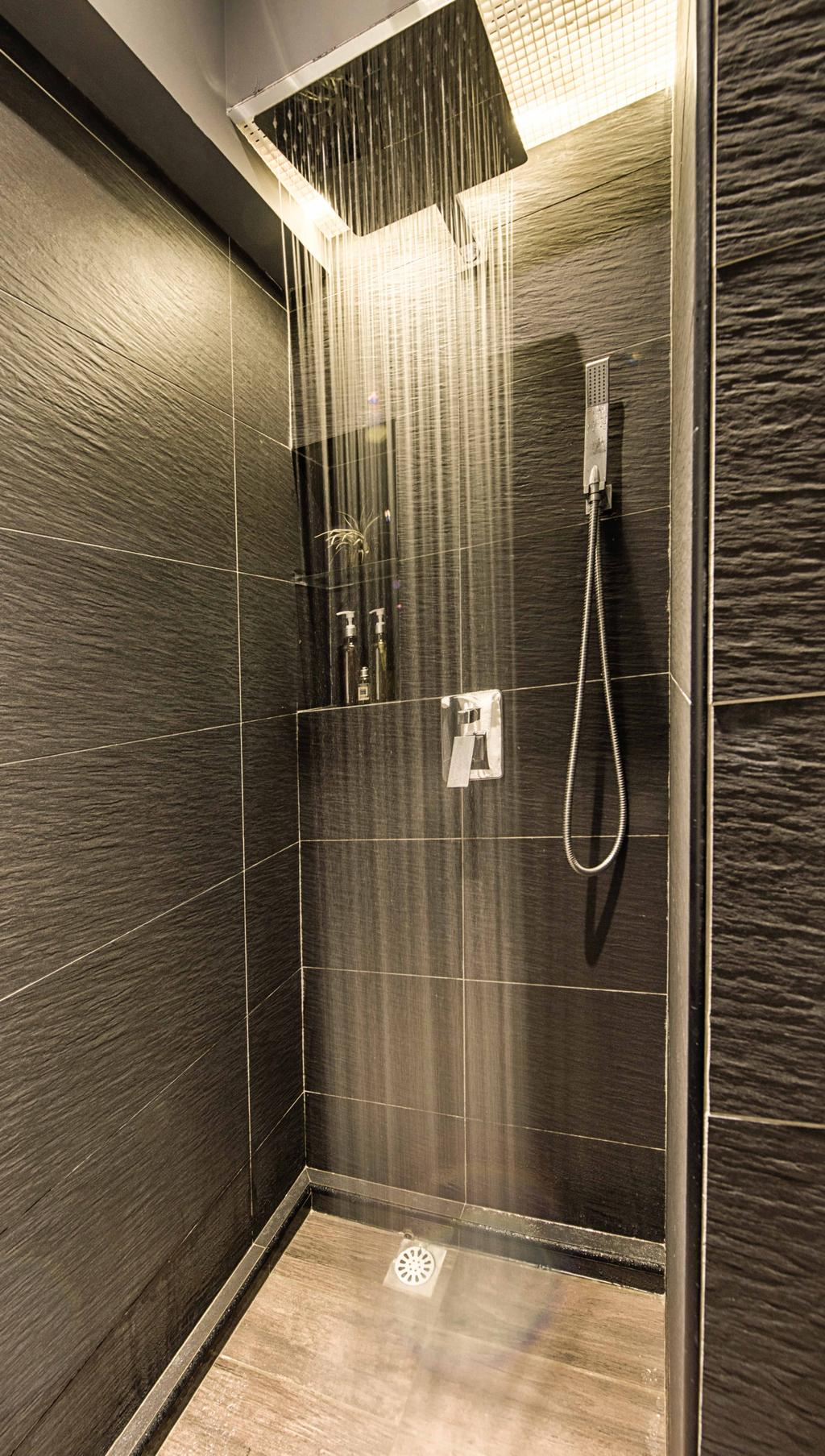 Contemporary, Condo, Bathroom, Waterway Woodcress, Interior Designer, Mr Shopper Studio, Modern, Rainshower, Black Tiles, White Tile Grout, Monochrome