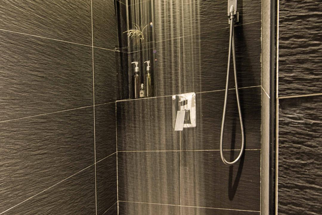 Waterway Woodcress, Mr Shopper Studio, Contemporary, Modern, Bathroom, Condo, Rainshower, Black Tiles, White Tile Grout, Monochrome