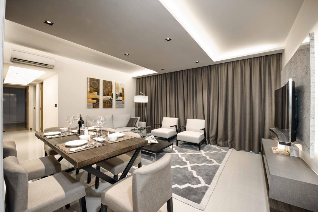 Waterway Woodcress, Mr Shopper Studio, Contemporary, Modern, Dining Room, Condo, Wooden Coffee Table, Grey Tv Console, Clean Colours, Cream Colours, Cove Lighting, Concealed Lighting, Indoors, Interior Design, Room, Conference Room, Meeting Room