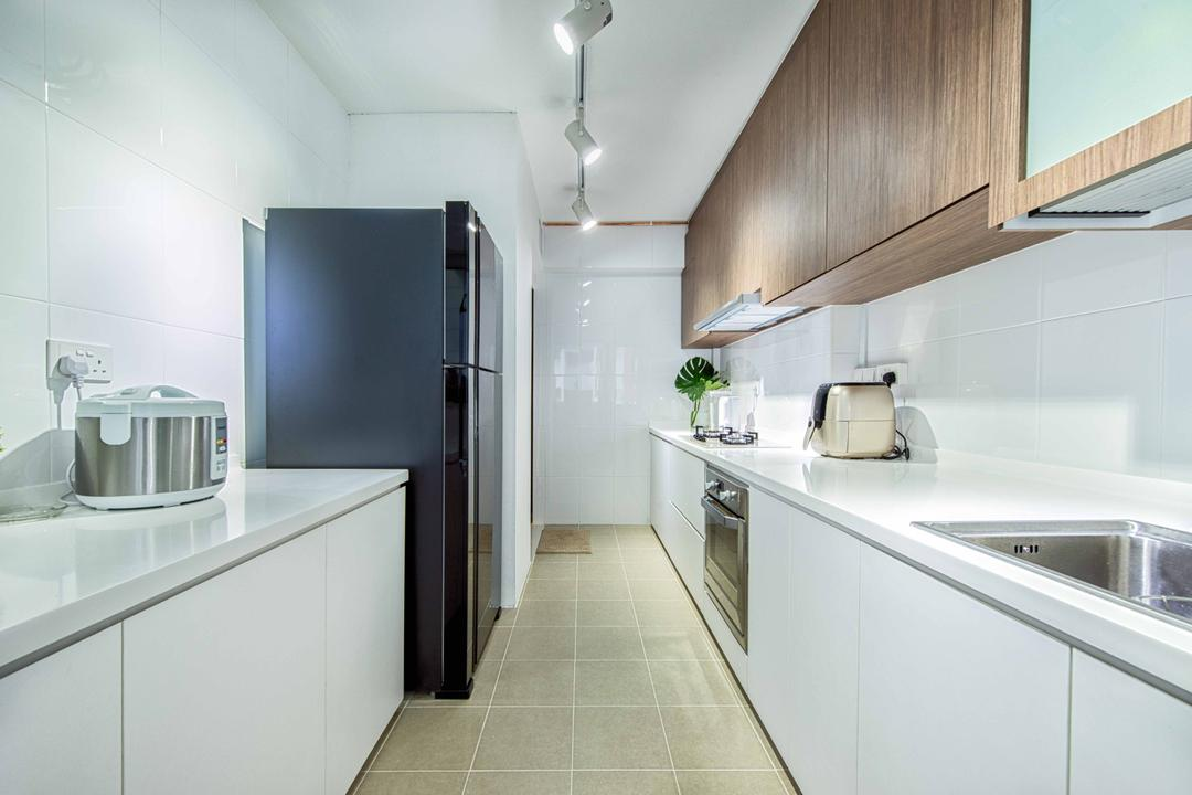 Waterway Woodcress, Mr Shopper Studio, Contemporary, Modern, Kitchen, Condo, Gallery Kitchen, Gallery Kitchen Layout, White Kitchen, White Cabinets, Knobless, Parallel, White Cabinetry, Easy To Clean, Easy To Maintain, Solid Countertop, Countertop, White Lights, Cool Lights, Indoors, Interior Design