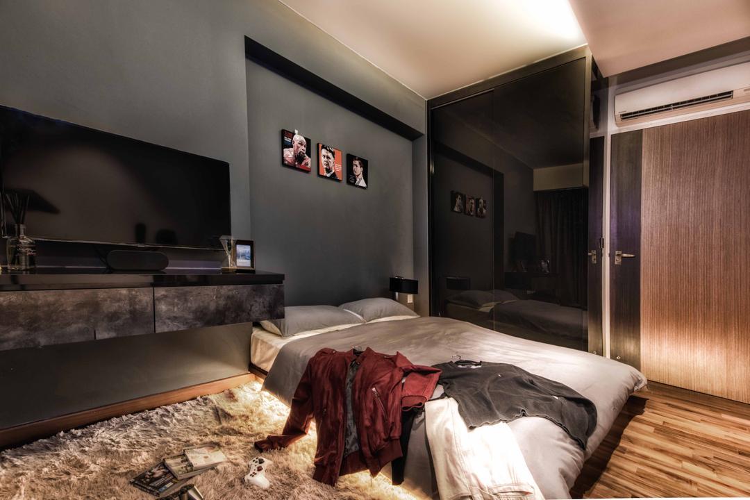 Waterway Woodcress, Mr Shopper Studio, Contemporary, Modern, Bedroom, Condo, Underlighting, Under Light, Mattress, Glossy Surfaces, Plush Rug, Grey, Gray Wall, Stone Grey Wall, Bed, Furniture