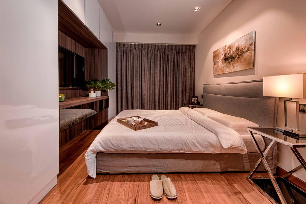 Contemporary, Condo, Bedroom, Waterway Woodcress, Interior Designer, Mr Shopper Studio, Modern, Simple, Suite, Hotel, Luxe, Bedside Table, Curtains, Cosy Shades, Cosy Colours, Bed, Furniture