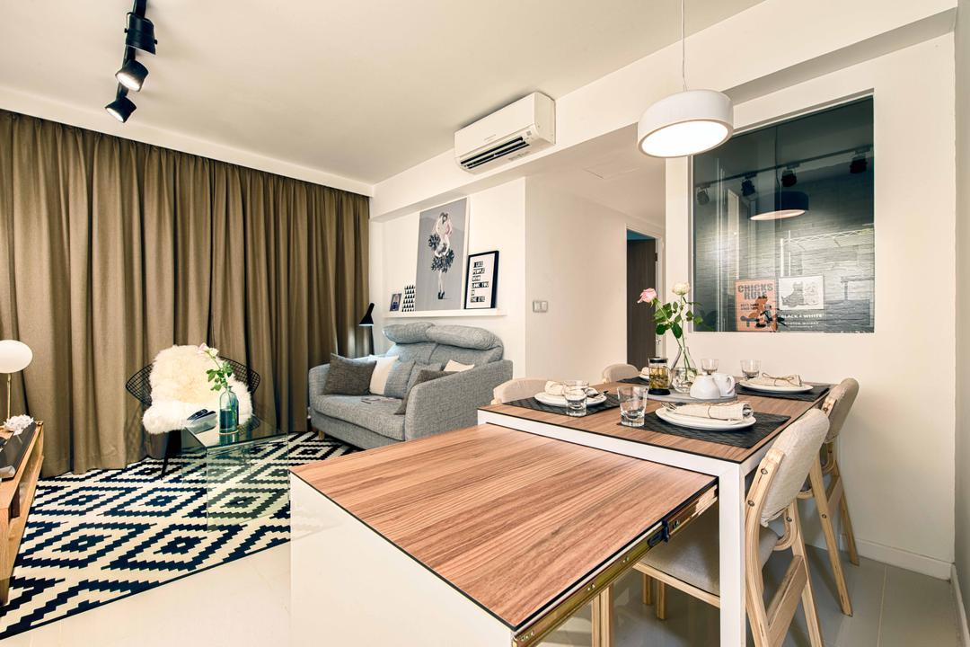 Pasir Ris One, Mr Shopper Studio, Contemporary, Modern, Dining Room, HDB, Extendable Table, Pull Out Table, Table Can Extend, Drawer Table, Indoors, Interior Design, Room, Dining Table, Furniture, Table, Couch