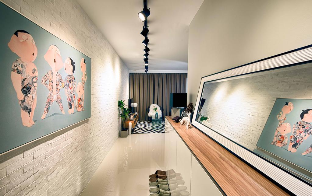 Contemporary, HDB, Living Room, Pasir Ris One, Interior Designer, Mr Shopper Studio, Modern, Hallway, Entrance, Walkway, Ledge, Tracklights, Corridor, Shoe Cabinet, Simple, Pictures, Mirror Panel, Kompacplus, Kompac, Wall Art