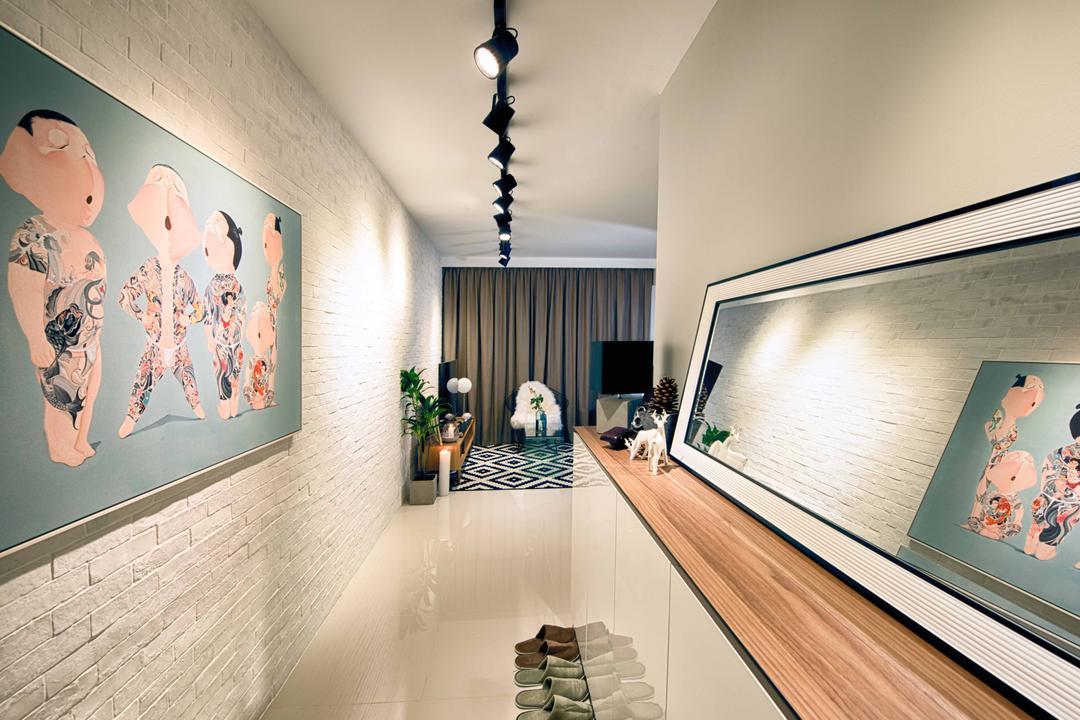 Pasir Ris One, Mr Shopper Studio, Contemporary, Modern, Living Room, HDB, Hallway, Entrance, Walkway, Ledge, Tracklights, Corridor, Shoe Cabinet, Simple, Pictures, Mirror Panel, Kompacplus, Kompac, Wall Art