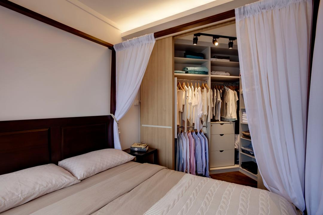 Depot Road, Liid Studio, Scandinavian, Bedroom, HDB, Walk In Wardrobe, Wardrobe, Cabinet, Dressing Area, Bedroom Curtain, Poster Bed, Divider, Modular System, Fabric, Curtain Divider, 4 Poster Bed, Indoors, Room, Bed, Furniture