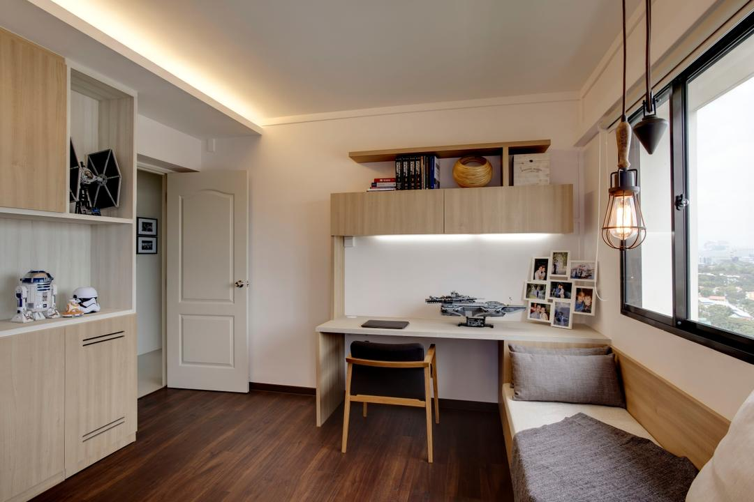 Depot Road, Liid Studio, Scandinavian, Study, HDB, Wood Accents, Light Wood, Shades Of Brown, Laminate, Couch, Daybed, Reading Nook, Reading Corner, Hanging Lights, Hanging Bulbs, Simple, Carpentry Shelving