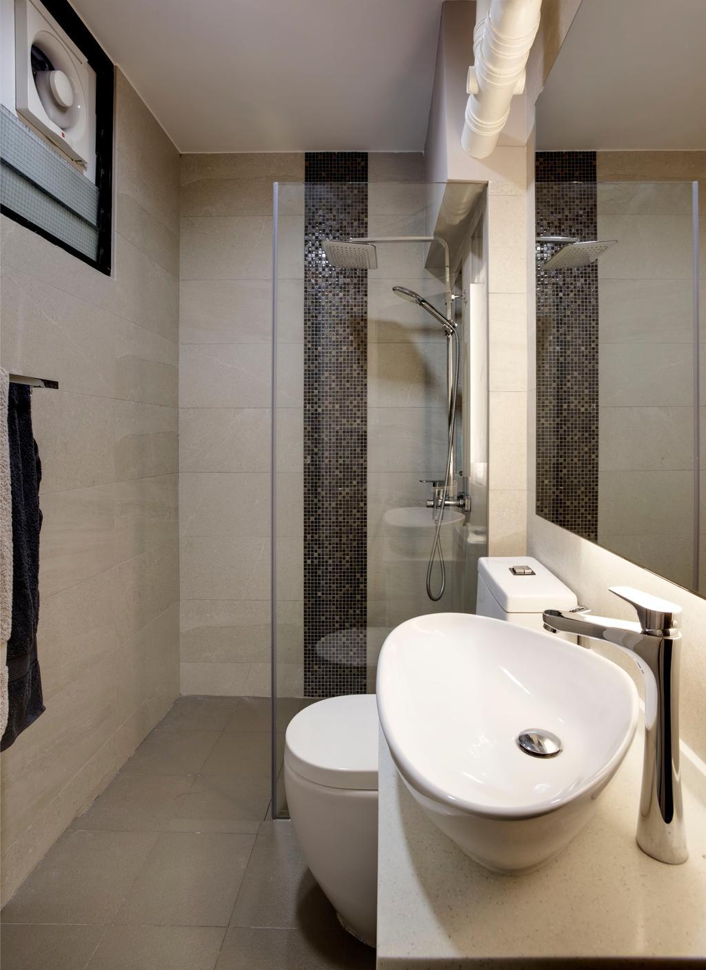 Scandinavian, HDB, Bathroom, Depot Road, Interior Designer, Liid Studio, Shower, Vanity Sink, Tiles, Shower Partition, Glass Partition, Indoors, Interior Design, Room, Sink