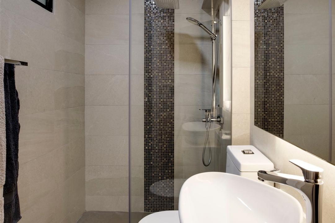 Depot Road, Liid Studio, Scandinavian, Bathroom, HDB, Shower, Vanity Sink, Tiles, Shower Partition, Glass Partition, Indoors, Interior Design, Room, Sink