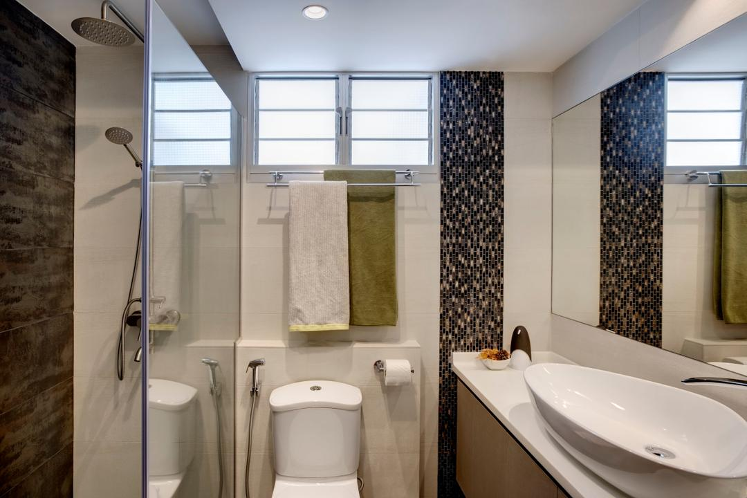 Anchorvale Street, Liid Studio, Modern, Bathroom, HDB, Tiles, Brown, Nude Tones, Vanity Sink, Basin, Wash Basin, Indoors, Interior Design, Room, Toilet, Sink