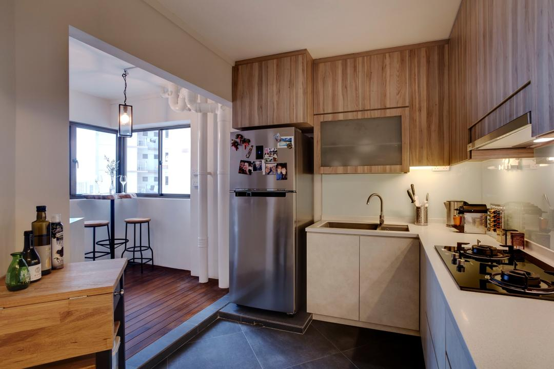 Depot Road, Liid Studio, Scandinavian, Kitchen, HDB, Service Yard, Fridge, Wood Accents, Wood Laminate, Kitchen Countertop, Countertop, White And Brown, Brown And White, Kerb, Knobless, High Stool, Hardwood, Wood, Indoors, Interior Design, Room