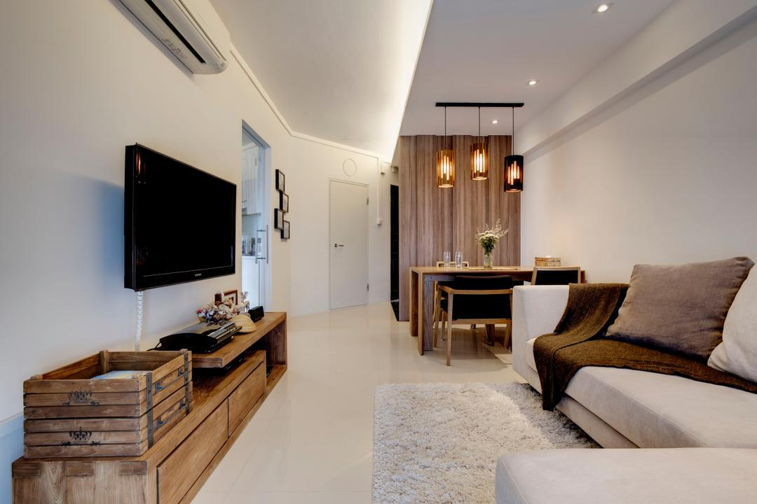 Depot Road, Liid Studio, Scandinavian, Living Room, HDB, Wood, Rustic, Wood Accents, Area Rug, Throw, Brown, Shades Of Brown, Woody, Tv Console, Laminate, Tiles, Neutral Colours, L Shaped Sofa, Sectionals, Wall Mount Tv, Hanging Lights, Resort, Lodge, Couch, Furniture, Dining Table, Table