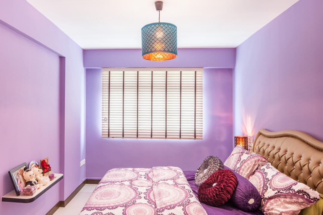 Fajar Road (Block 443B), Urban Habitat Design, Eclectic, Bedroom, HDB, Purple Walls, Purple Shade, Lilac, Lavender, Royal, Pendant Lamp, Venetian Blinds, Indoors, Interior Design, Room, Lamp, Lampshade