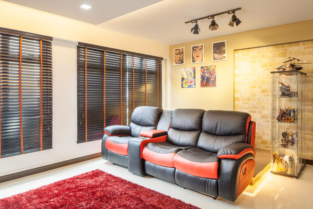 Fajar Road (Block 443B), Urban Habitat Design, Eclectic, Living Room, HDB, Black Blinds, Leather Sofa, Recliner Sofa, Reclinator, Track Lights, Wall Art, Brick Wall, Stage Lights, Display Case, Couch, Furniture, Indoors, Room