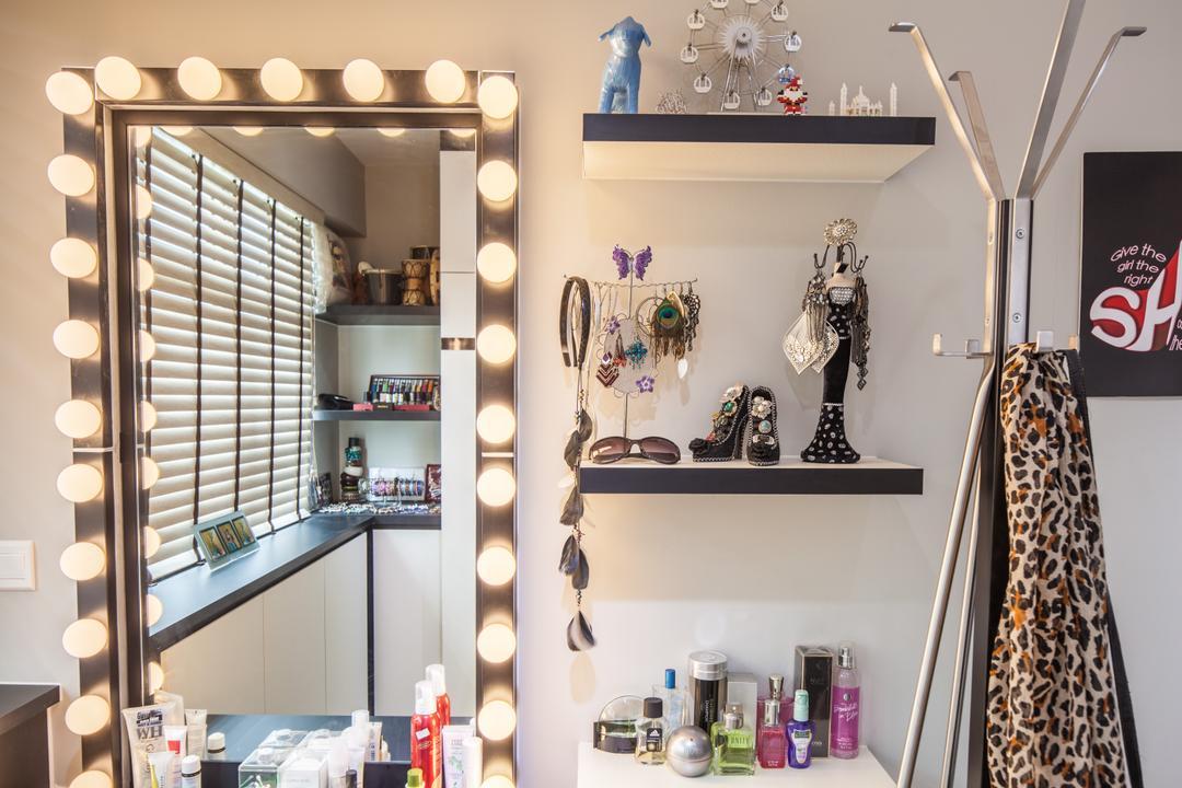 Fajar Road (Block 443B), Urban Habitat Design, Eclectic, Bedroom, HDB, Dresser, Bulbs Around Mirror, Illumination, Wall Shelves, Accessory Display, Accessories, Coat Rack, Display Rack