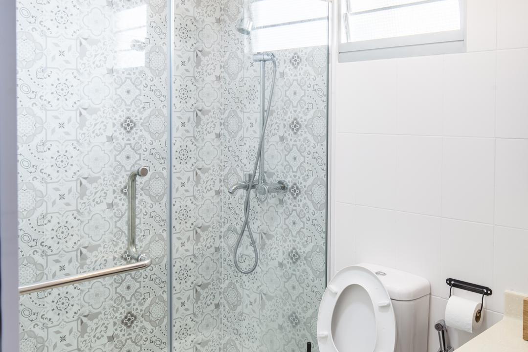 Fajar Road (Block 443B), Urban Habitat Design, Eclectic, Bathroom, HDB, Patterned Tiles, Glass Door, Paper, Paper Towel, Tissue, Towel, Indoors, Interior Design, Room