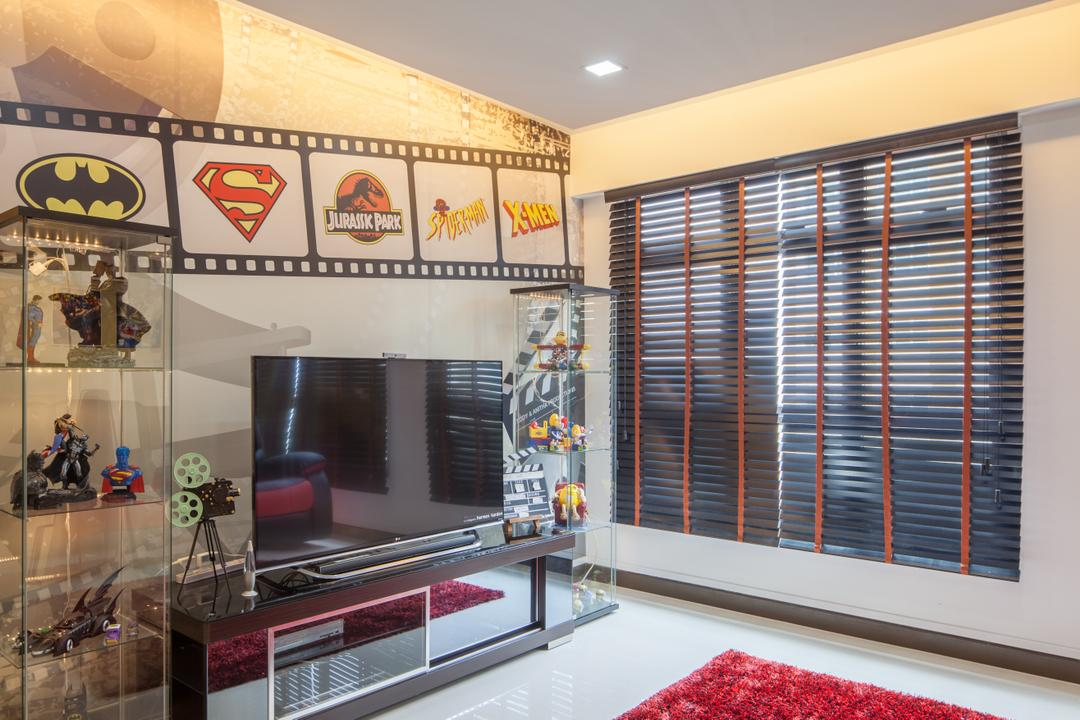 Fajar Road (Block 443B), Urban Habitat Design, Eclectic, Living Room, HDB, Movie Themed House, Black Blinds, Black Venetian Blinds, Dark Colour Blinds, Film Strip, Mural, Wall Mural, Wall Decal, Film Themed, Display Case, Collectibles, Collectors Item, Reelwheel