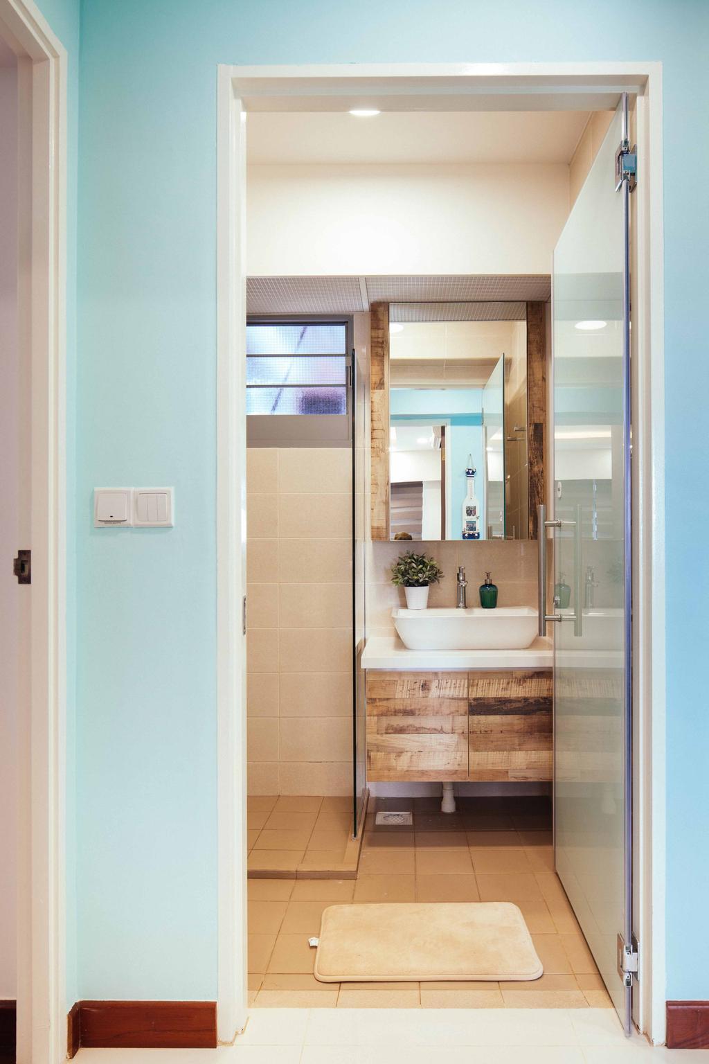 Eclectic, HDB, Bathroom, Upper Serangoon View (Block 476B), Interior Designer, Urban Habitat Design, Glas Door, Pastel Blue, Sea Blue, Light Blue, Glass Partition, Rustic Laminate, Indoors, Interior Design, Room, Window