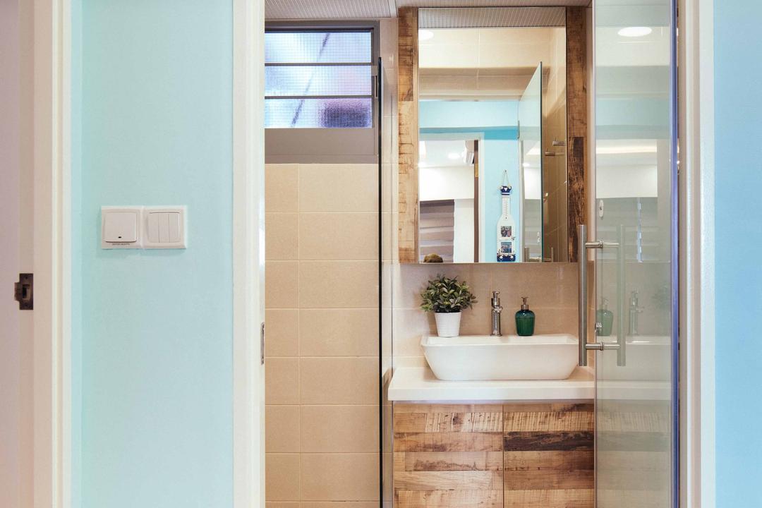 Upper Serangoon View (Block 476B), Urban Habitat Design, Eclectic, Bathroom, HDB, Glas Door, Pastel Blue, Sea Blue, Light Blue, Glass Partition, Rustic Laminate, Indoors, Interior Design, Room, Window