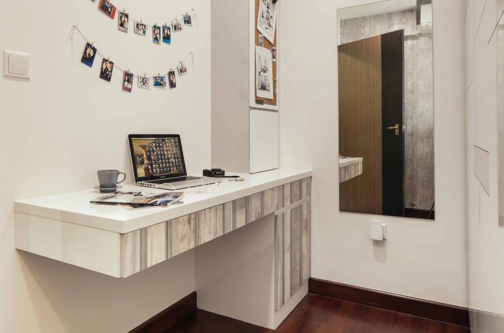 Eclectic, HDB, Study, Upper Serangoon View (Block 476B), Interior Designer, Urban Habitat Design, Wood Laminate, Rustic Feel, Wall Mount Table, Workspace, Wall Mirror