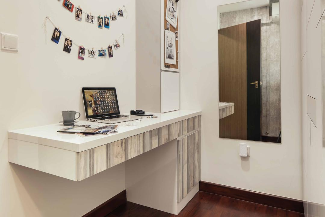 Upper Serangoon View (Block 476B), Urban Habitat Design, Eclectic, Study, HDB, Wood Laminate, Rustic Feel, Wall Mount Table, Workspace, Wall Mirror