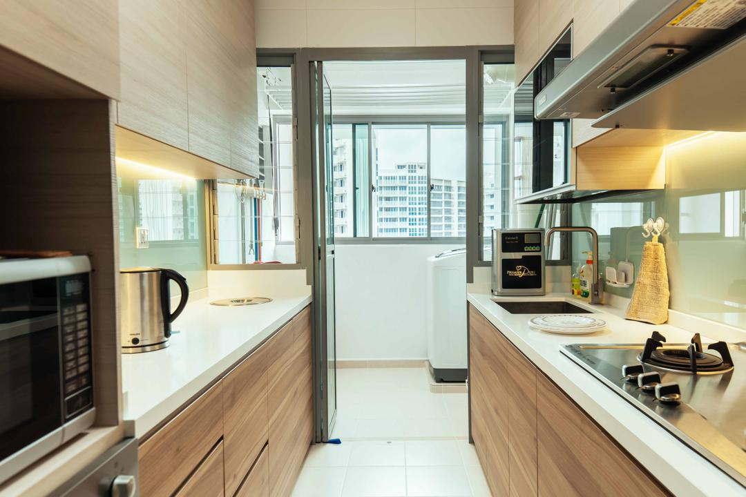 Upper Serangoon View (Block 476B), Urban Habitat Design, Eclectic, Kitchen, HDB, Gallery Kitchen, Gallery Kitchen Layout, Service Yard, Parallel Layout, Stove, Backsplash, Glass Backsplash, Airy, Indoors, Interior Design, Appliance, Electrical Device, Oven, Room