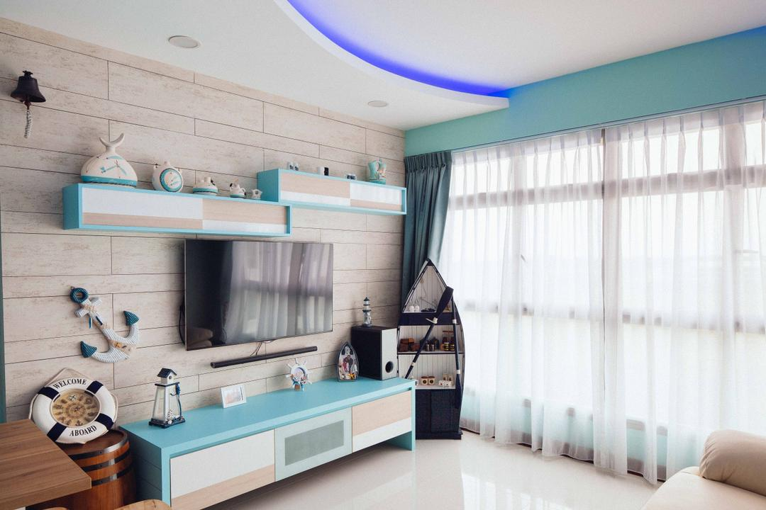 Upper Serangoon View (Block 476B), Urban Habitat Design, Eclectic, Living Room, HDB, Nautical, Cottage, Lodge, Blue Lights, Day Curtain, Sky Blue, Navy, Anchor, Boat, Nautical Themed, Wood Cabinet, Wall Shelves, Indoors, Interior Design