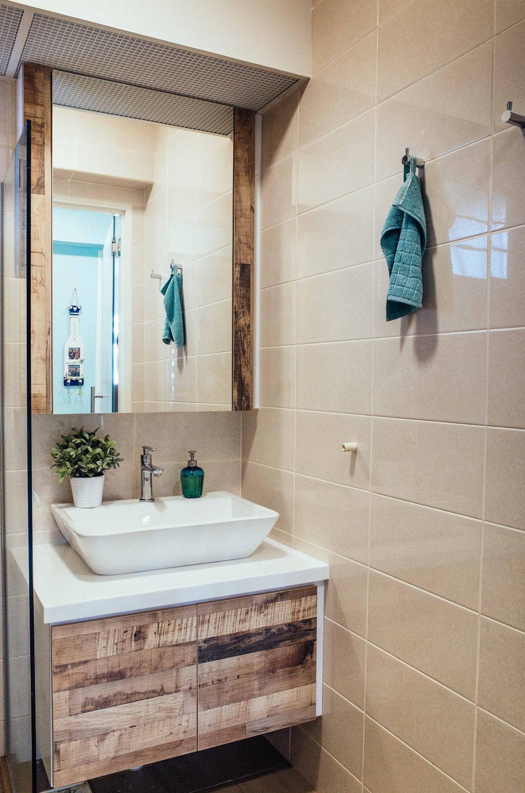 Eclectic, HDB, Bathroom, Upper Serangoon View (Block 476B), Interior Designer, Urban Habitat Design, Tiles, Vanity Counter, Basin, Potted Plant, Brown
