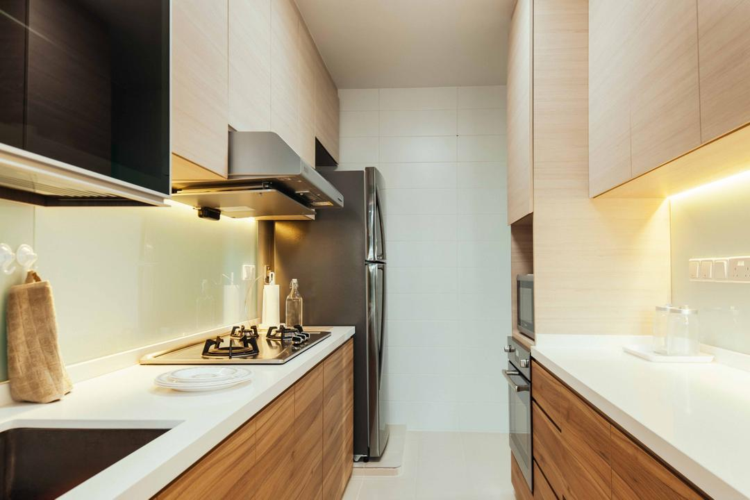 Upper Serangoon View (Block 476B), Urban Habitat Design, Eclectic, Kitchen, HDB, White And Brown, Brown And White, White Countertop, Solid Countertop, White Counter, Stove, Gallery Kitchen, Hob, Hood, Indoors, Interior Design, Bathroom, Room