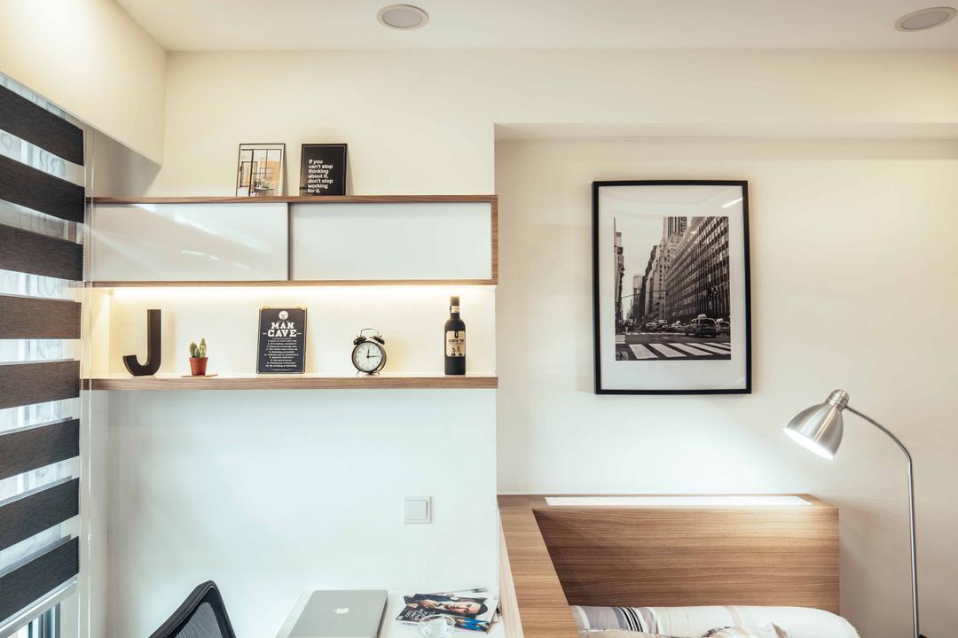 Upper Serangoon View (Block 476B), Urban Habitat Design, Eclectic, Bedroom, HDB, Wall Storage, Korean Blinds, Reading Lamp, Black And White Photos, Black And White, Study Area, Workspace, Indoors, Interior Design
