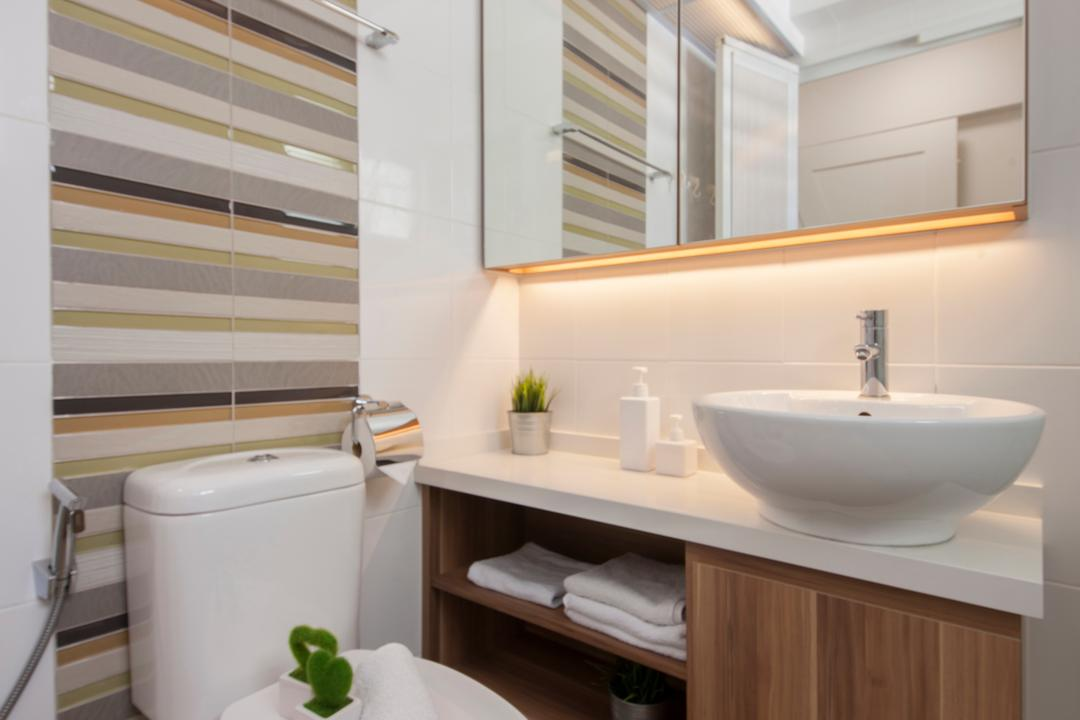 Fernvale Street (Block 471A), Aart Boxx Interior, Scandinavian, Minimalistic, Bathroom, HDB, Tiles, Striped Tiles, Water Closet, White And Brown, Flora, Jar, Plant, Potted Plant, Pottery, Vase, Sink, Indoors, Interior Design