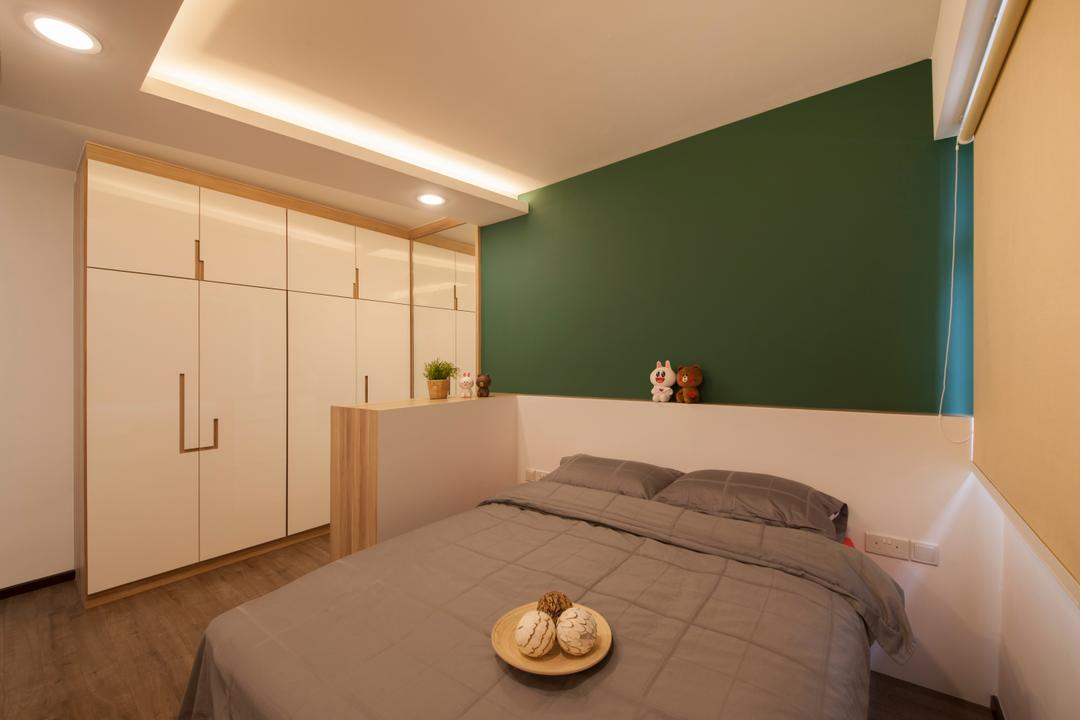 Fernvale Street (Block 471A), Aart Boxx Interior, Scandinavian, Minimalistic, Bedroom, HDB, Cove Lighting, Bed Ledge, Partition, Half Partition, Small Partition, Short Partition, Wardrobe, Dressing Area, Accessory Cabinet, Lighting, Indoors, Interior Design, Room