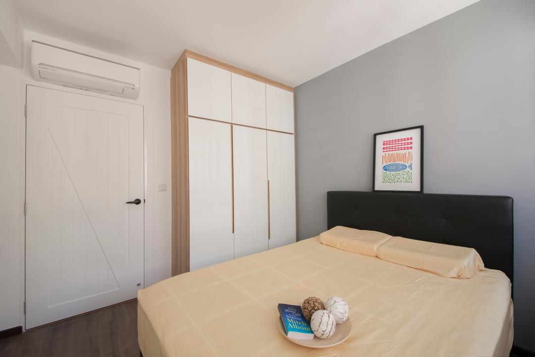 Fernvale Street (Block 471A), Aart Boxx Interior, Scandinavian, Minimalistic, Bedroom, HDB, Barn Door, White Barn Door, White Door, Bed Ledge, Simple Cabinet, Building, Housing, Indoors, Interior Design, Room