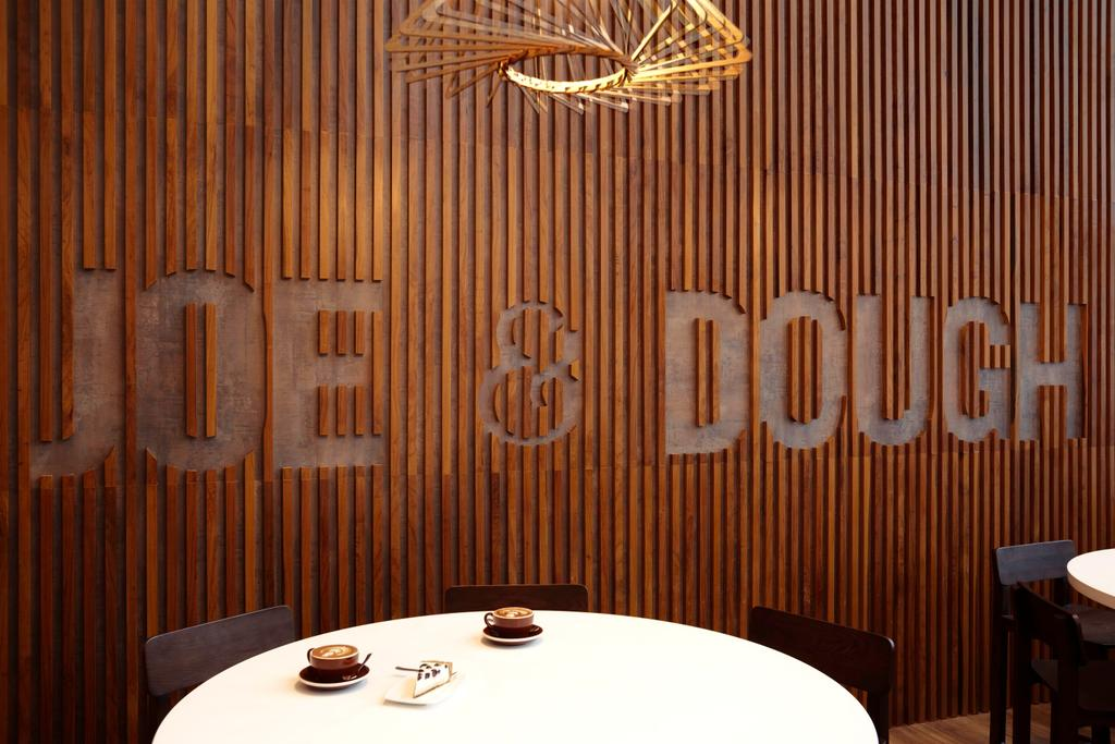 Joe & Dough (Capitol Tower), Commercial, Interior Designer, Liid Studio, Modern, Wood Panel, Wood Partition, Dish, Food, Meal, Plate, Chair, Furniture, Home Decor, Linen, Tablecloth