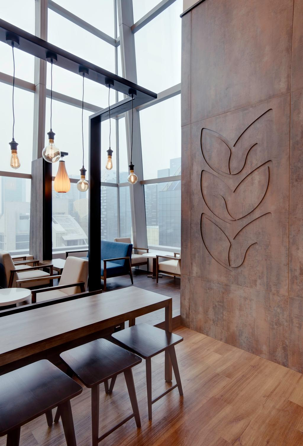 Joe & Dough (Capitol Tower), Commercial, Interior Designer, Liid Studio, Modern, Wall Mural, Wooden Table, Wood Bench, Wooden Chairs, Pendant Lights, Chair, Furniture