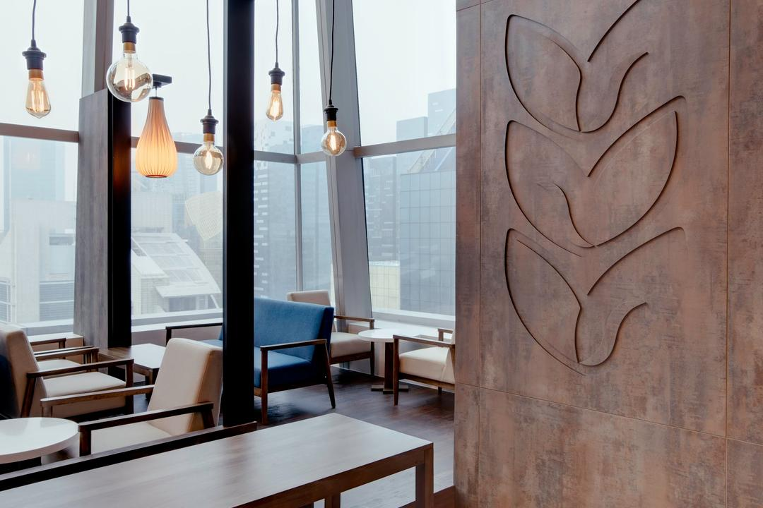 Joe & Dough (Capitol Tower), Liid Studio, Modern, Commercial, Wall Mural, Wooden Table, Wood Bench, Wooden Chairs, Pendant Lights, Chair, Furniture