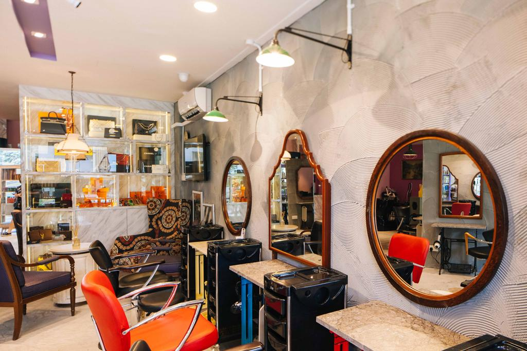 Hairhaus, Commercial, Interior Designer, Urban Habitat Design, Eclectic, Industrial, Appliance, Electrical Device, Oven, Chair, Furniture, Luggage, Suitcase