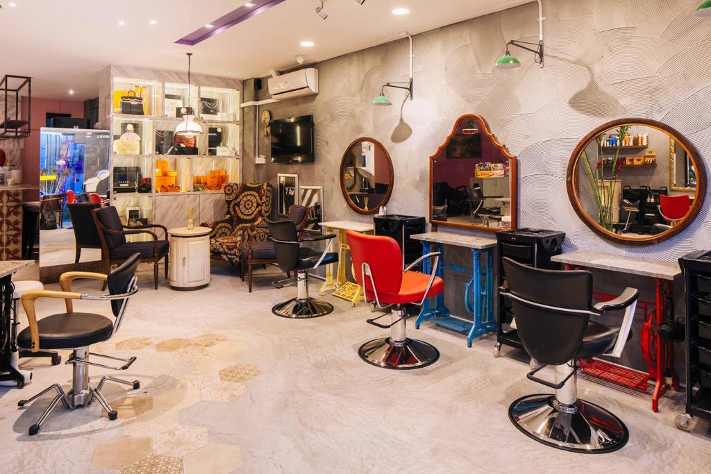 Hairhaus, Commercial, Interior Designer, Urban Habitat Design, Eclectic, Industrial, Couch, Furniture, Chair