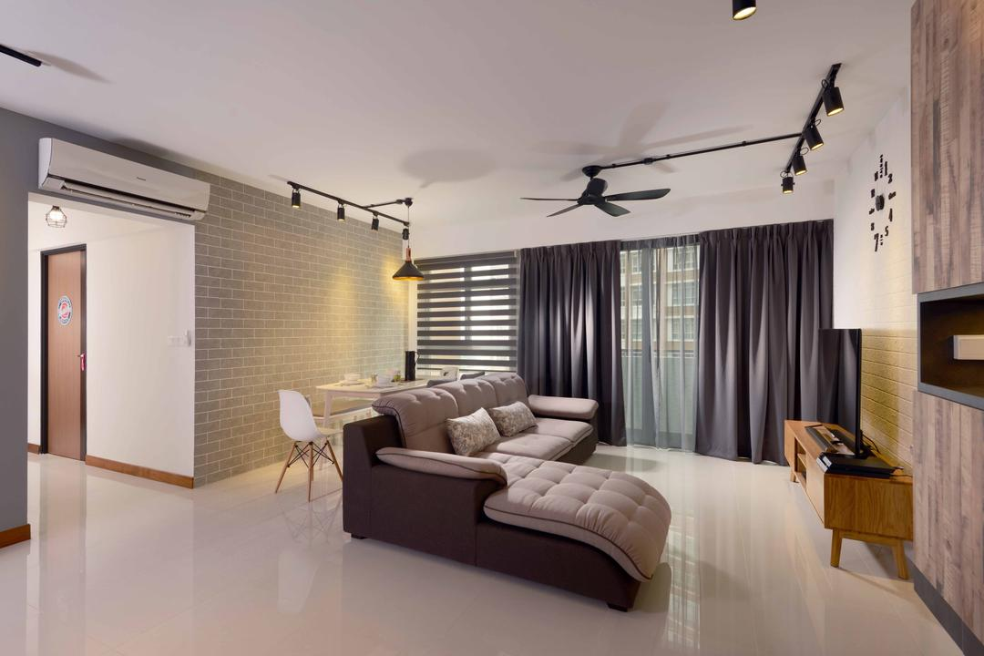 Punggol Drive (Block 665B), Urban Habitat Design, Scandinavian, Living Room, HDB, L Shaped Sofa, Tiles, Airy, Curtains, Black Curtains, Korean Blinds, Brick Wall, White Brick, Retro Tv Console, Black Tracklights, Wall Clock, Indoors, Interior Design