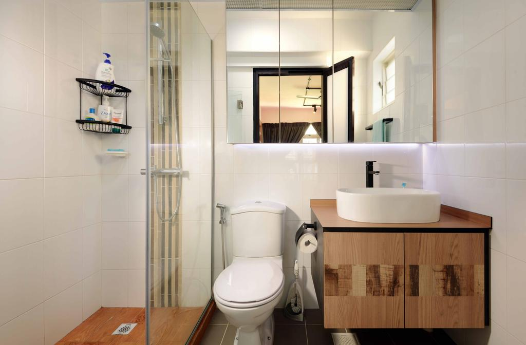Scandinavian, HDB, Bathroom, Punggol Drive (Block 665B), Interior Designer, Urban Habitat Design, Glass Partition, Vanity Cabinet, Black Faucet, Toiletry Holder, Toiletry Rack, Mirrored Door, Sink, Basin, Toilet, Door, Sliding Door, Shelf, Indoors, Interior Design, Room