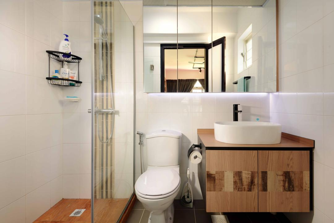 Punggol Drive (Block 665B), Urban Habitat Design, Scandinavian, Bathroom, HDB, Glass Partition, Vanity Cabinet, Black Faucet, Toiletry Holder, Toiletry Rack, Mirrored Door, Sink, Basin, Toilet, Door, Sliding Door, Shelf, Indoors, Interior Design, Room